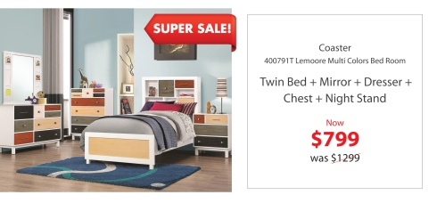Coaster Twin multi colors bed