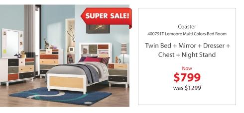 Coaster Twin multi colors bed