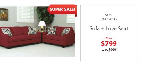 Serta red sofa + love Seat