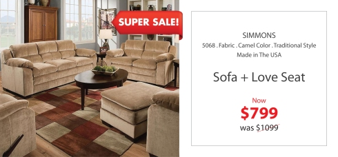 Simmons camel sofa + love Seat
