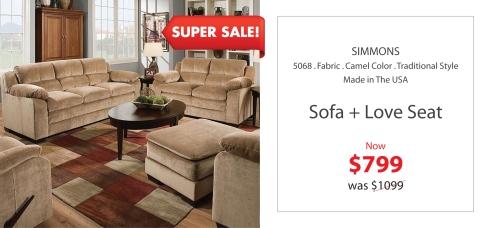 Simmons camel sofa + love Seat