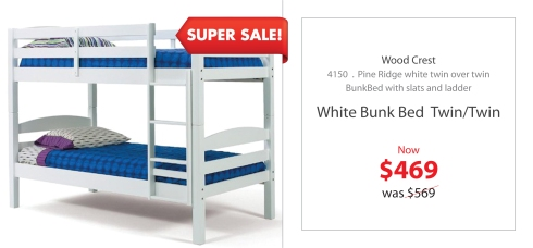 Wood Crest White Bunk Bed Twin over Twin